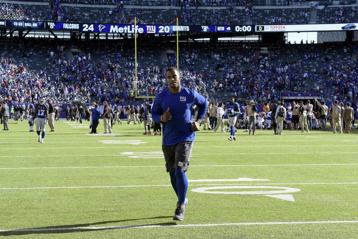 New York Giants wide receiver Victor Cruz leaves the field after a game earlier this year.
