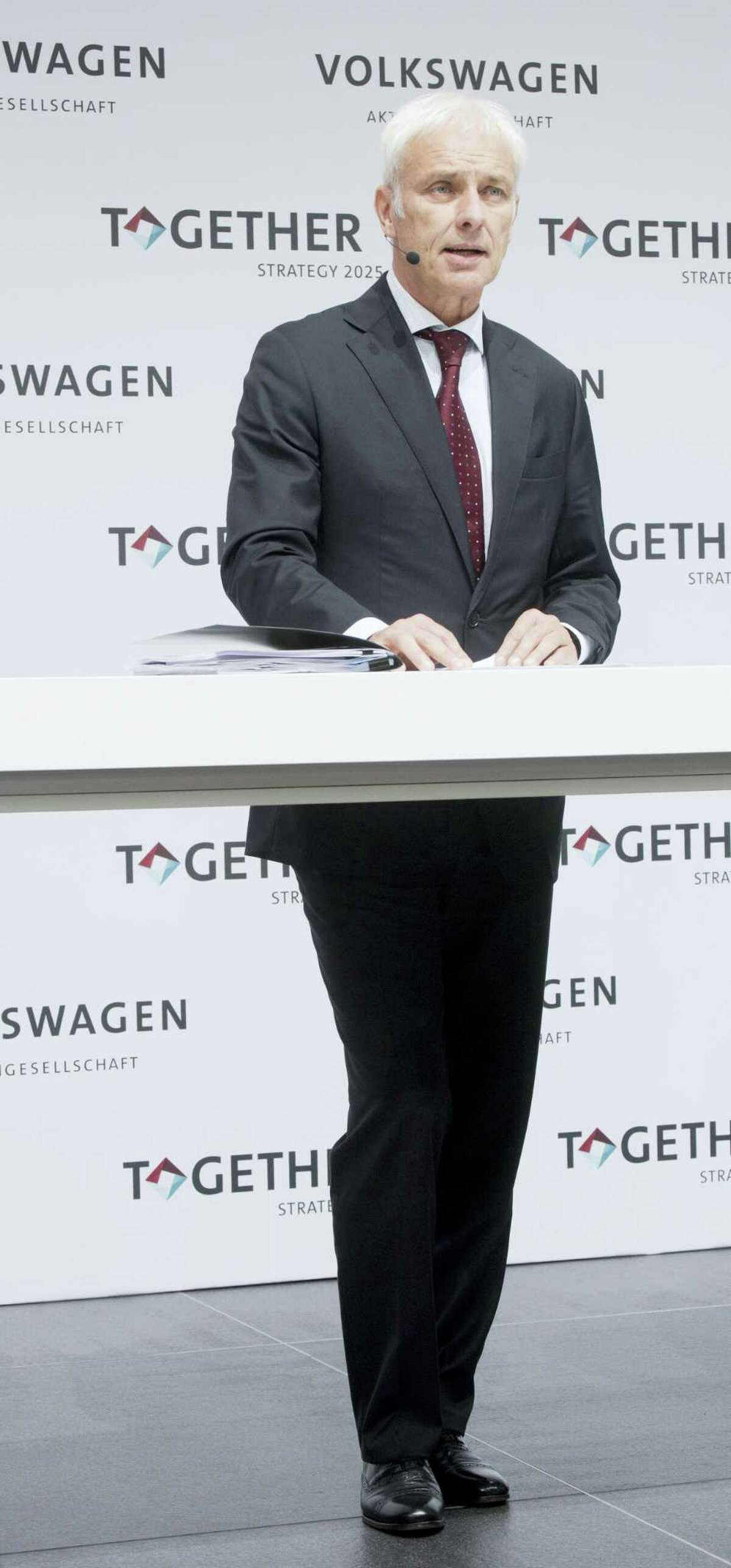Volkswagen AG, CEO, Matthias Mueller, speaks at a news conference at the company's headquarters in Wolfsburg, Germany on June 16, 2016. Mueller said Thursday the company plans to introduce more than 30 electric-powered vehicles by 2025, and to sell 2 to 3 million of them a year.