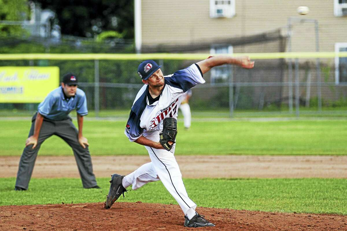 Photo by Marianne KillackeyWatertown's Nick Mondak made a spectacular FCBL debut in the Torrington Titans win over the Wachusett Dirt Dawgs Wednesday night at Fuessenich Park.