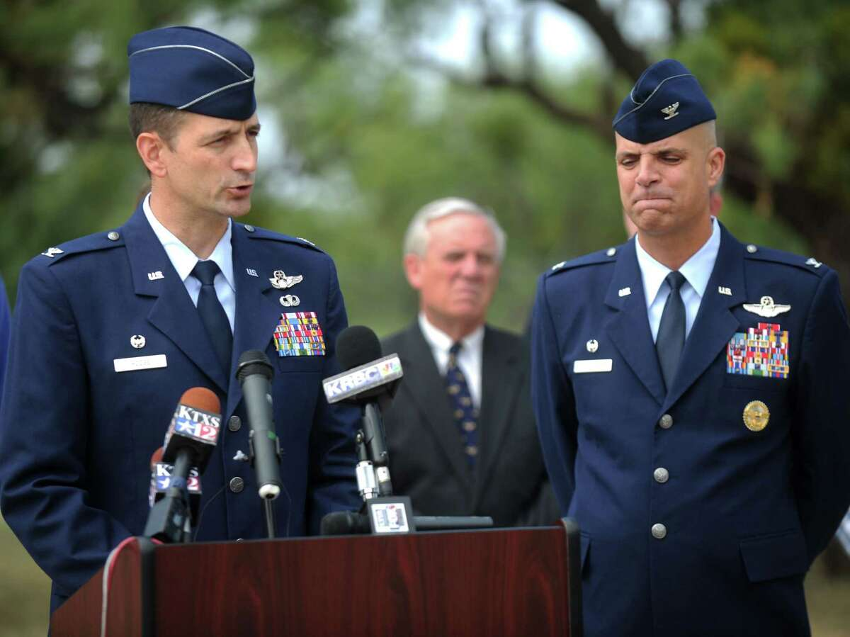 Col. Stephen Hodge, left, 317th Airlift Group Commander, and Col. Michael Bob Starr, right,7th Bomb Wing commander at Dyess Air Force Base, right, speak at a press conference Friday, Oct. 2, 2015, in Abilene, Texas. Officials say four airmen at the Air Force base in West Texas were among 11 people killed in a U.S. military transport plane crash in Afghanistan.