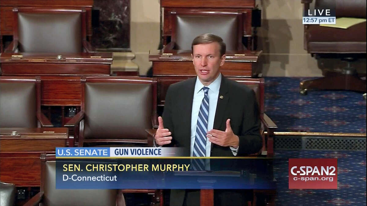 This frame grab provided by C-SPAN shows U.S. Sen. Christopher Murphy, D-Conn., speaking Wednesday on the floor of the Senate, where he launched a filibuster demanding a vote on gun-control measures. The move comes three days after people were killed in a mass shooting in Orlando, Florida.