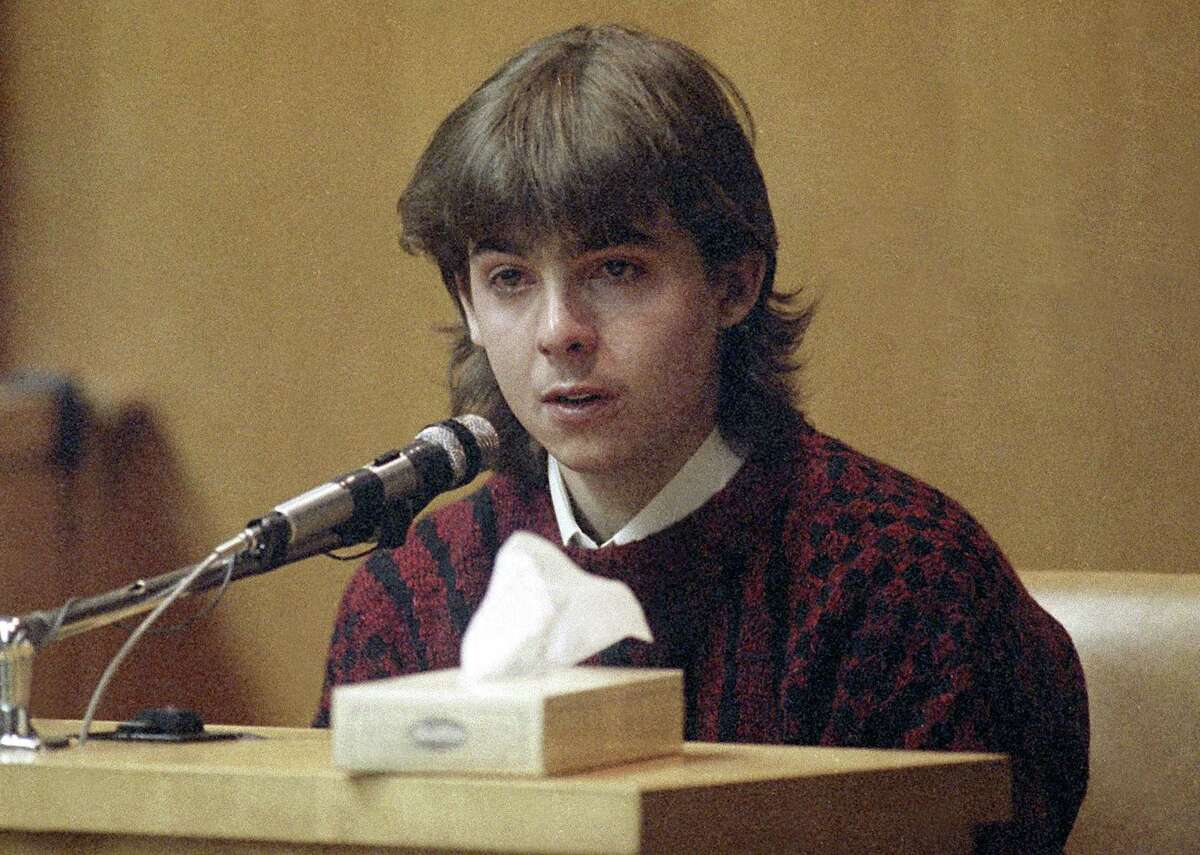 """FILE - In this March 13, 1991 file photo, William """"Billy"""" Flynn, testifies on his 17th birthday in court in Exeter, N.H., how he shot Gregg Smart in the head and killed him in Derry, N.H., in 1990. Flynn was convicted and sent to prison for killing Gregg Smart, the husband of his lover, Pamela Smart. Flynn was released from prison in Maine on parole Thursday, June 4, 2015 after serving nearly 25 years. (AP Photo/Jim Cole, File)"""