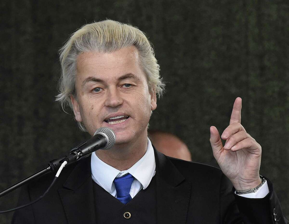 FILE - In this April 13, 2015 file photo Dutch anti-Islam lawmaker Geert Wilders as he speaks at a rally of so-called 'Patriotic Europeans against the Islamization of the West' (PEGIDA) in Dresden, Germany. Geert Wilders says on Wednesday, June 3, 2015 he plans to show cartoons of the Prophet Muhammad on Dutch television airtime reserved for political parties after Parliament refused to display them, in a move likely to deeply offend Muslims. (AP Photo/Jens Meyer, File)