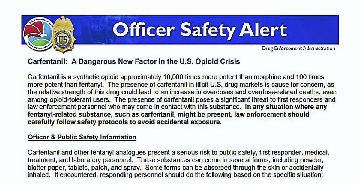 A screenshot of the DEA Officer Safety Warning distributed to local emergency medical services in Connecticut.
