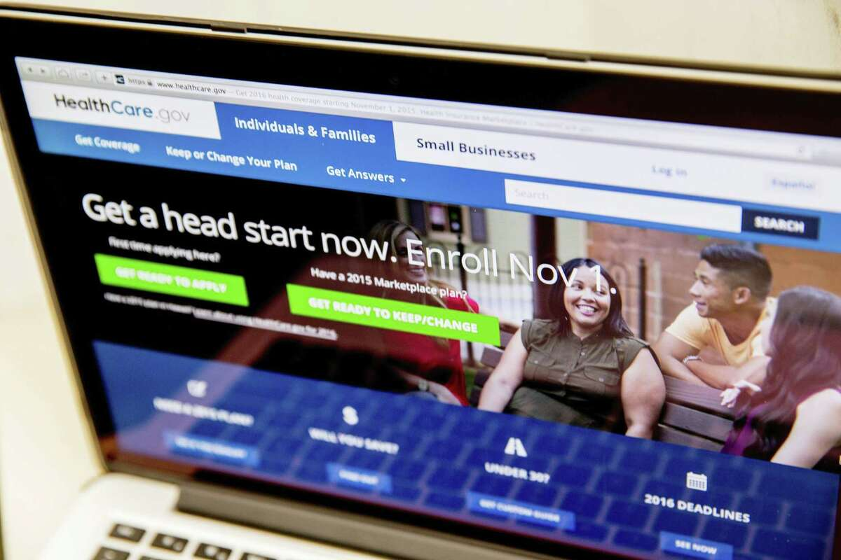 In this Oct. 6, 2015 photo, the HealthCare.gov website, where people can buy health insurance, is displayed on a laptop screen in Washington.