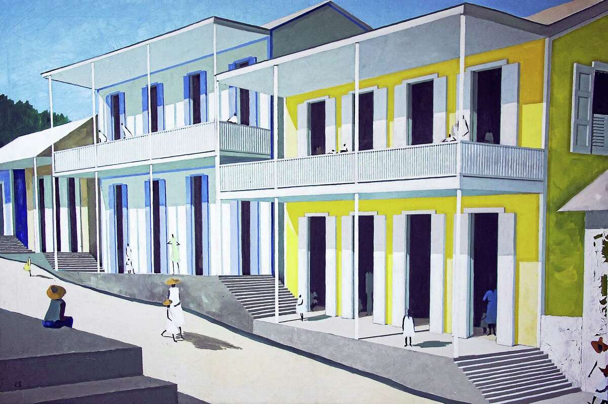 """""""Caribbean Street"""" by Emilio Sánchez, an oil on canvas, is from the Bonachea collection."""