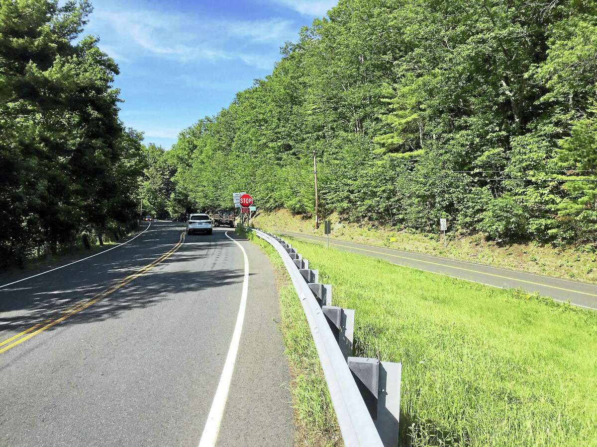 The intersection of Route 318 and Route 219 near Saville Dam in Barkhamsted, as seen Wednesday.