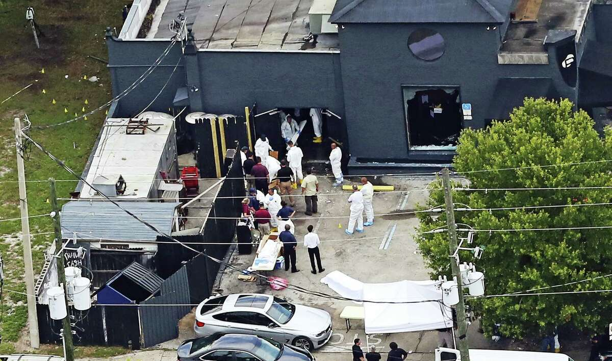 An aerial view of the mass shooting scene at the Pulse nightclub in Orlando, Fla.