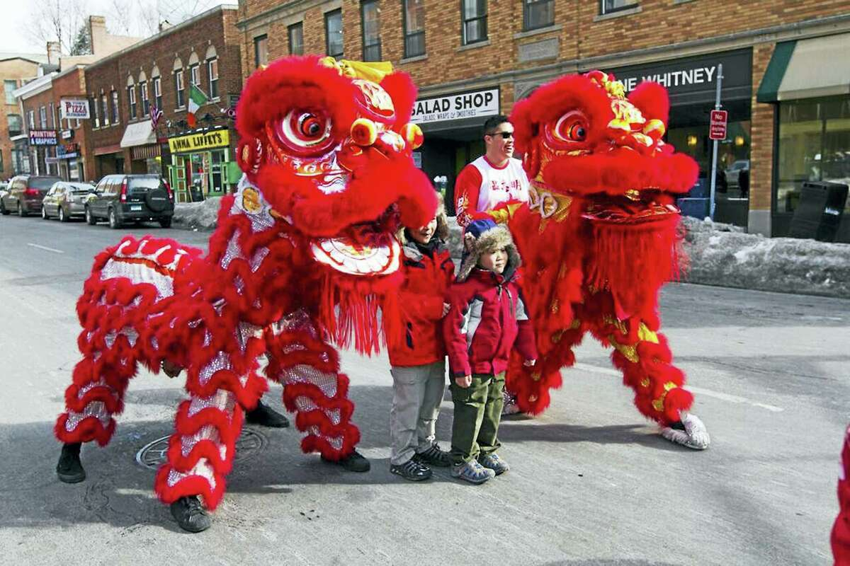 Part of last year's lion dance spectacle on Whitney Avenue.