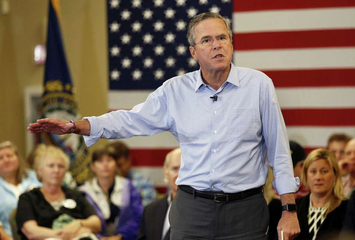 In this Sept. 30, 2015 photo, Republican presidential candidate former Florida Gov. Jeb Bush speaks during a campaign stop in Bedford, N.H.