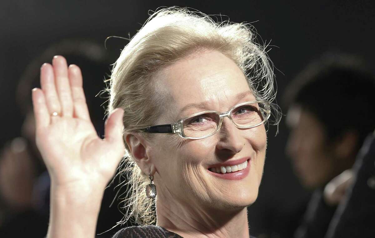 FILE - In this Wednesday, March 4, 2015 file photo, Meryl Streep waves to photographers during the Japan premiere of