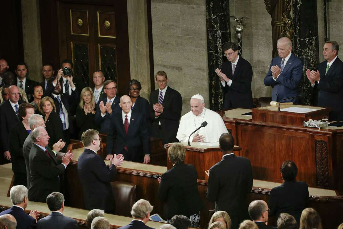 Pope Francis is applauded as he arrives on Capitol Hill in Washington Sept. 24 to address a joint meeting of Congress.