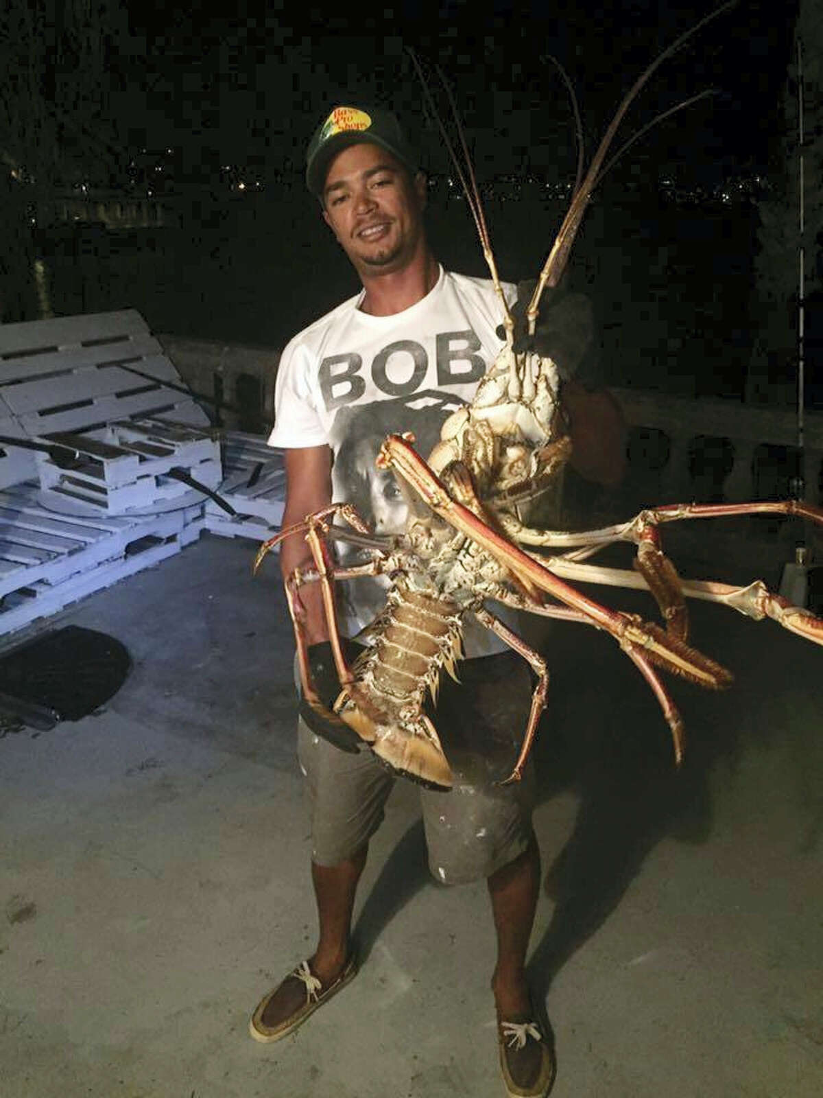 In this photo provided by charter boat company Sanctuary Marine Bermuda, Tristan Loescher holds up a 14-pound spiny lobster he caught while fishing on Oct. 14, 2016, at an undisclosed shoreline location in Bermuda.