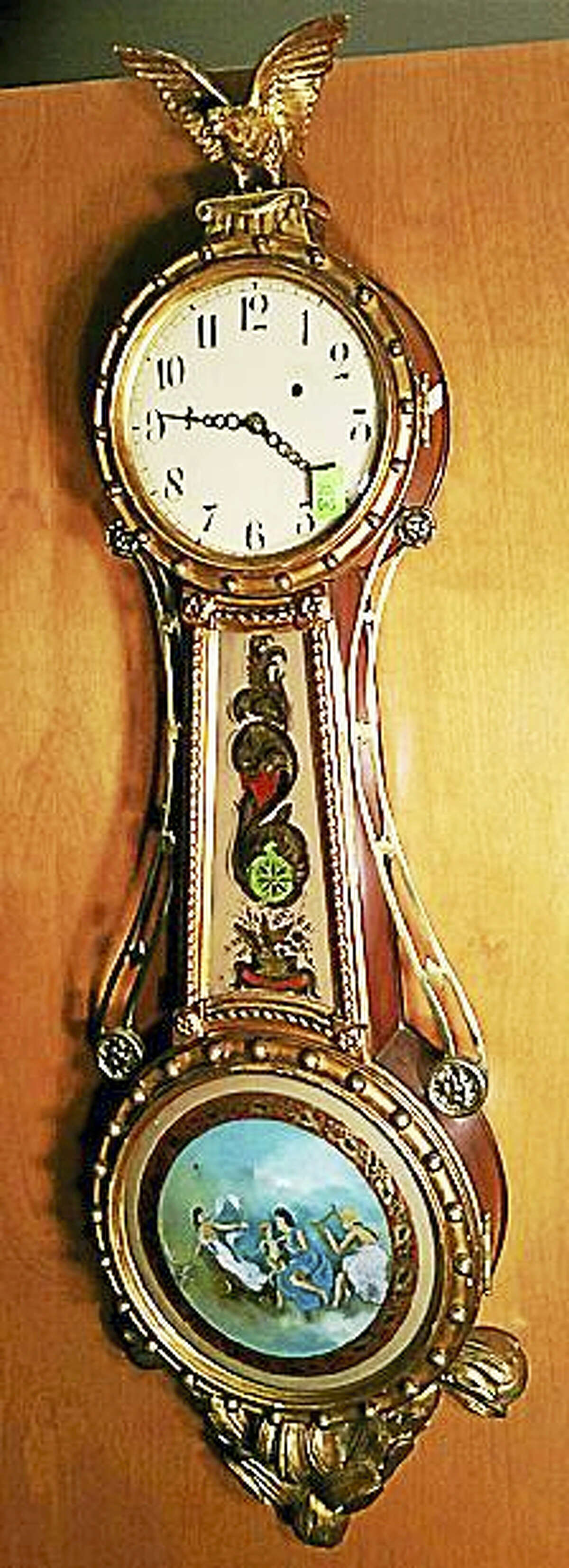 Contributed photos Clocks from makers around Connecticut will be featured at Tim's Inc Auctions on Sunday, Oct. 23.