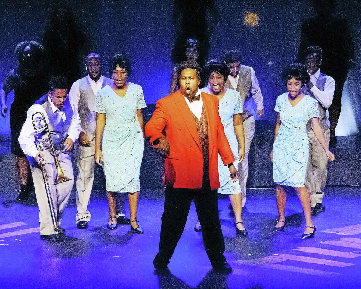 """Photos by Lisa Cherie Photography The Dreams, singing backup for James """"Thunder"""" Ray, perform in the early days of their career in the musical """"Dreamgirls"""" at the Thomaston Opera House."""