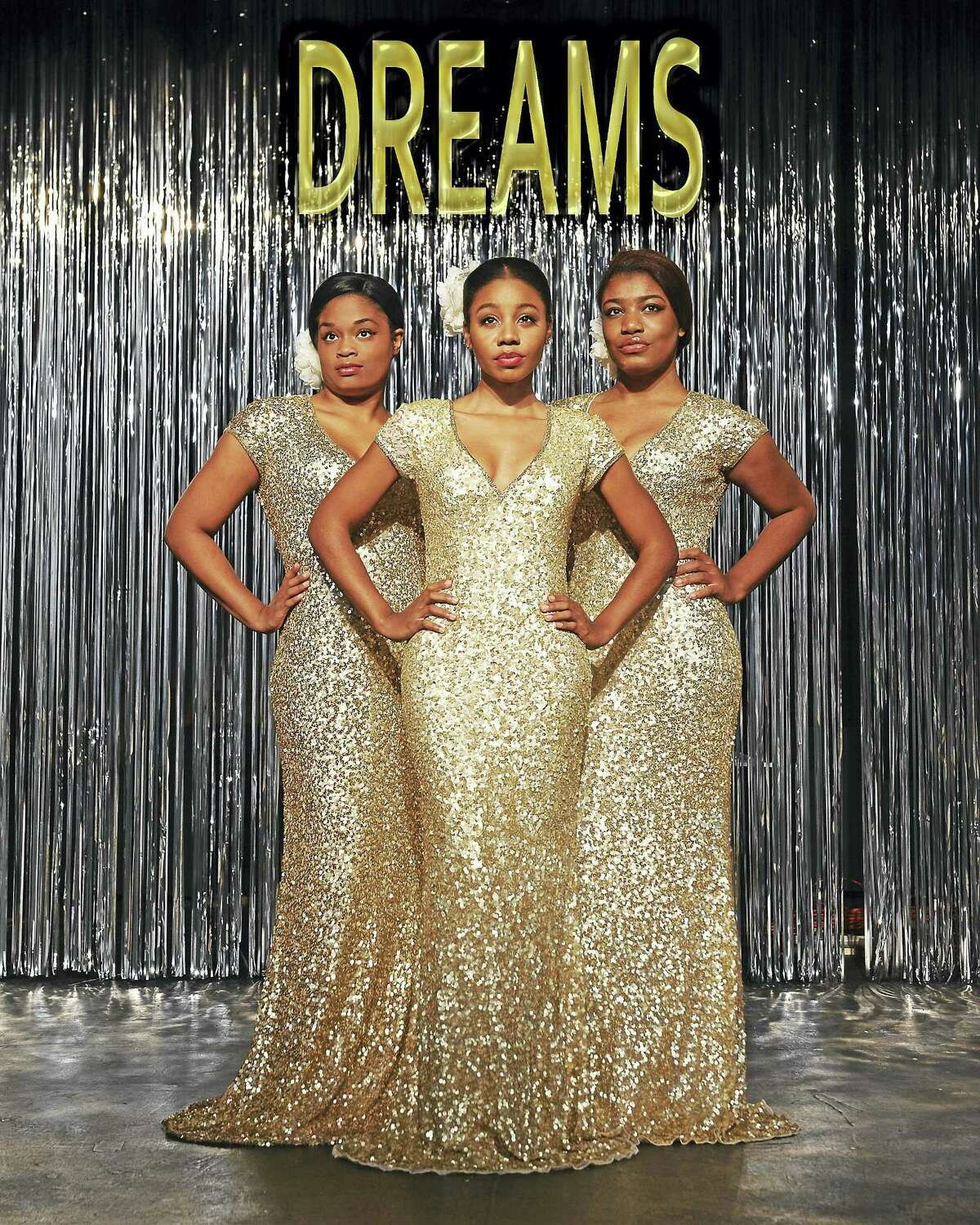 """Photos by Lisa Cherie Photography The Dreams,from left, Samantha Rae Bass, Khadija Ansari and Jasmine Clemons, star in 'Dreamgirls"""" at the Thomaston Opera House."""