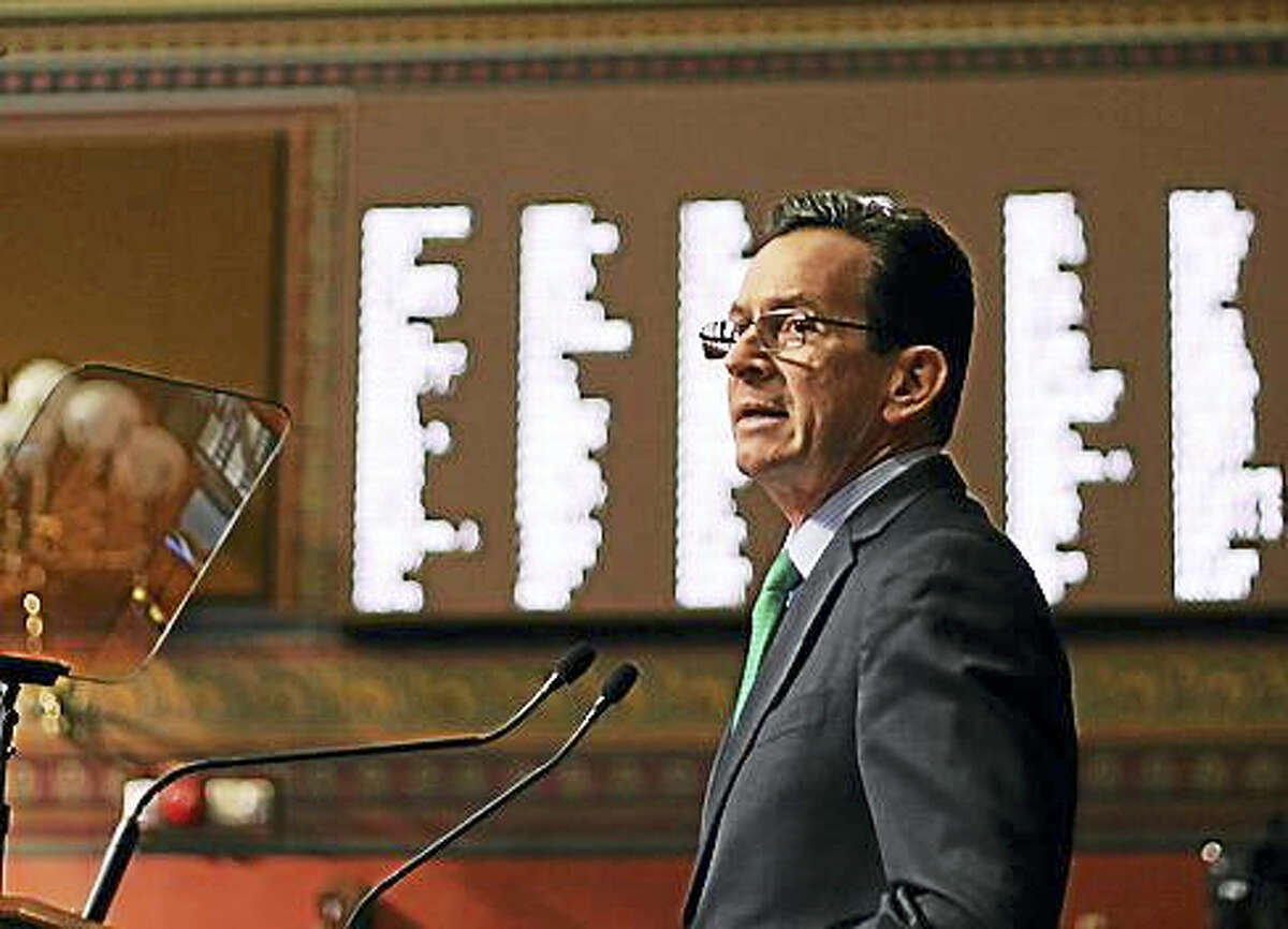 Gov. Dannel P. Malloy giving his budget address in 2015