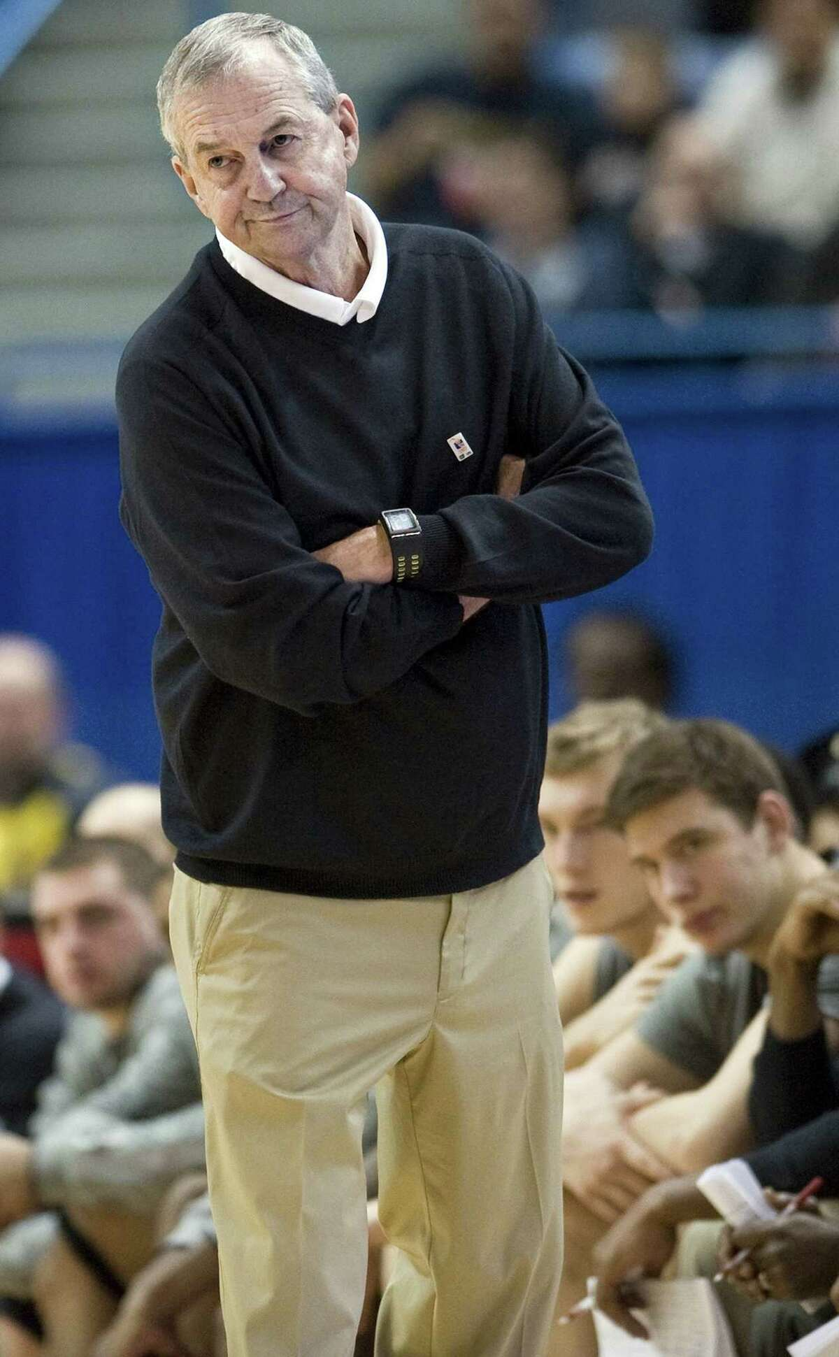 FILE - In this Jan. 29, 2012,, file photo, Connecticut head coach Jim Calhoun watches play in the second half of an NCAA college basketball game against Notre Dame in Hartford, Conn. Calhoun is taking an indefinite medical leave of absence, the school announced Friday, Feb. 3, 2012. The Hall of Fame coach, who turns 70 in May, has been suffering for several months from spinal stenosis, a lower back condition that causes him severe pain and hampers mobility, the school said Friday in a news release.