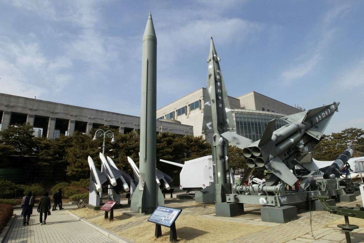 A mock Scud-B missile of North Korea, left, and other South Korean missiles are displayed at the Korea War Memorial Museum in Seoul, South Korea, Wednesday, Feb. 3, 2016. South Korea warned on Wednesday of