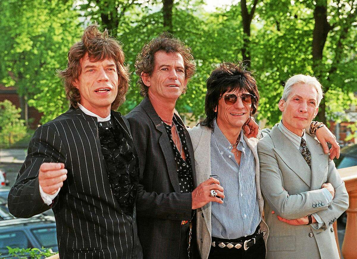 The Rolling Stones pose for photographers at the Skansen outdoor museum in Stockholm, Sweden. From left Mick Jagger, Keith Richards, Ron Wood and Charlie Watts.