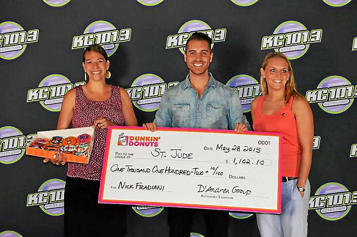 From left: Nicole Ball, Dunkin' Donuts Franchisee; Nick Fradiani, Season 14 American Idol winner; and Jillian Grembowicz, St. Jude Children's Research Hospital.