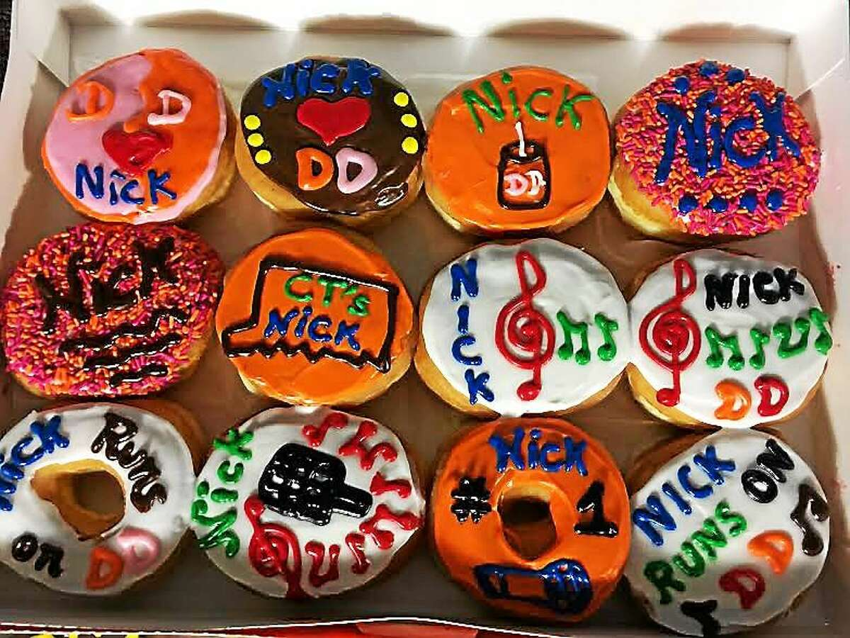 Doughnuts decorated to honor performer Nick Fradiani.