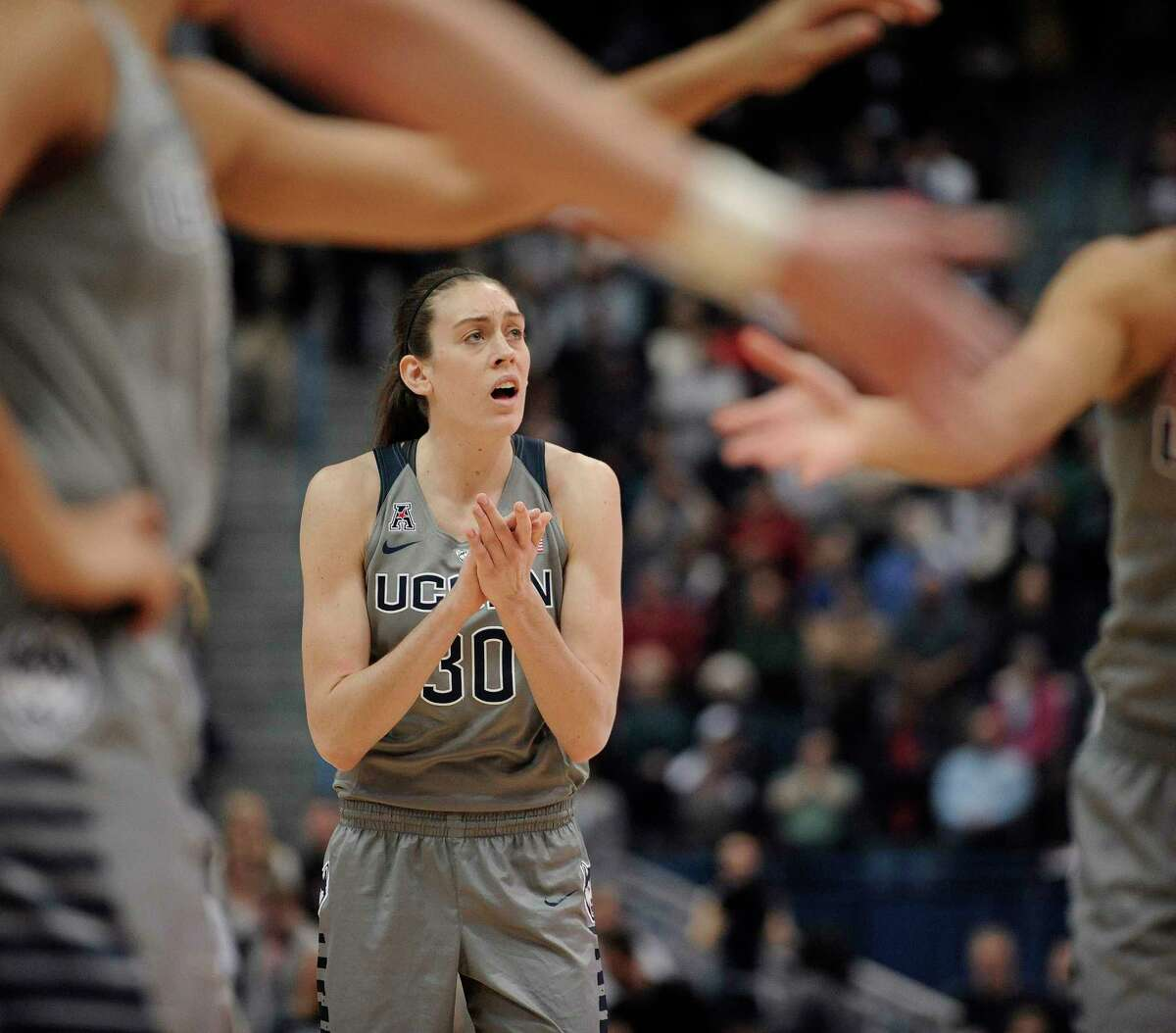 UConn's Breanna Stewart needs two blocked shots to reach 300 for her career.
