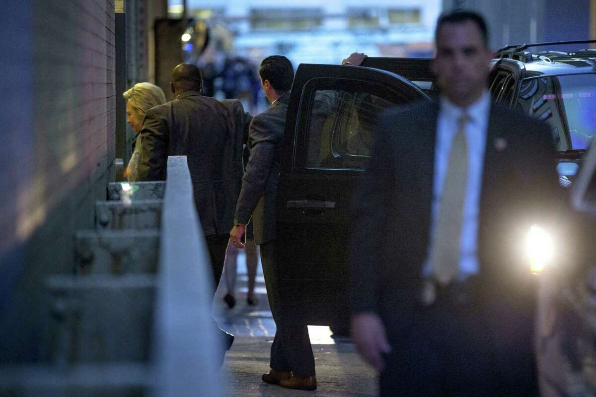 Democratic presidential candidate Hillary Clinton arrives at the Capitol Hilton for a meeting with Democratic presidential candidate Sen. Bernie Sanders, I-Vt., in Washington, Tuesday, June 14, 2016.