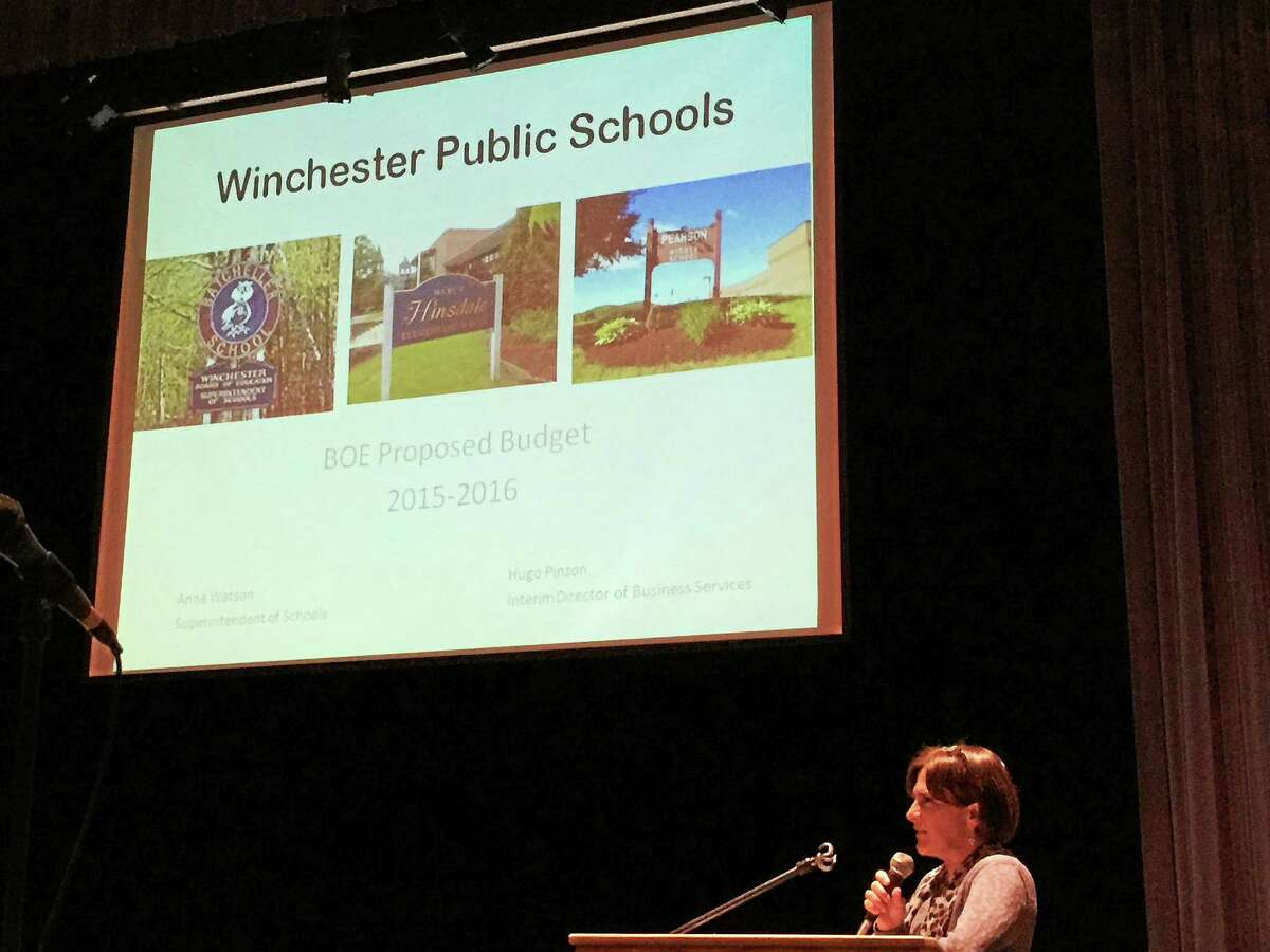Winchester Superintendent Anne Watson addresses those in attendance Monday evening, as she presents a proposed 2015-16 budget for the Winchester Public Schools.