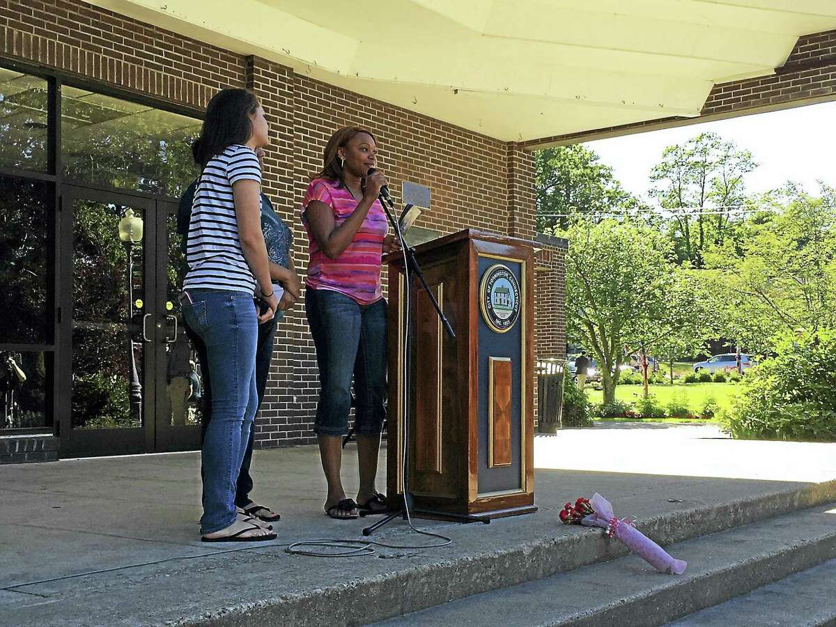 Ben Lambert - The Register Citizen Residents gathered Tuesday night at Coe Memorial Park to remember and celebrate the life of Kimberly Morris, a Torrington native killed in the mass shooting Sunday in Orlando.