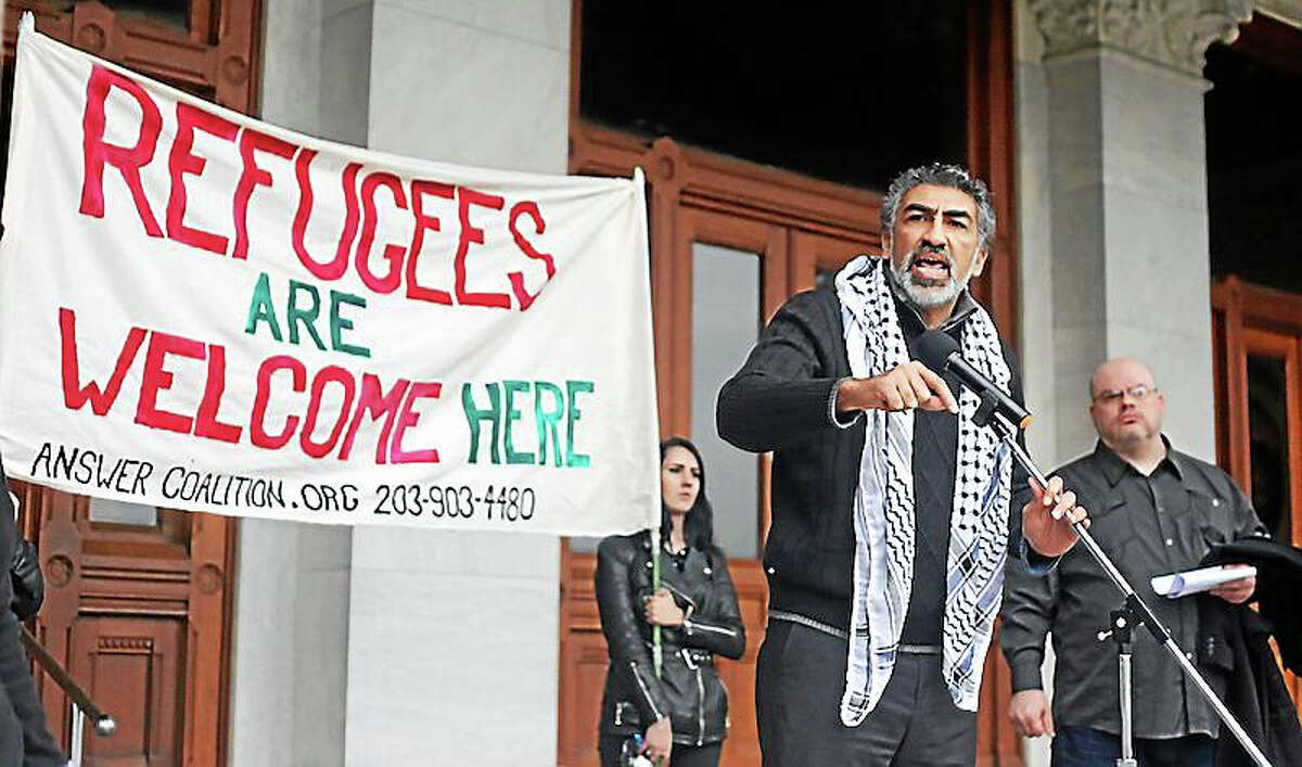 Mongi Dhaouadi, executive director of the Council on American Islamic Relations, speaks Saturday at the state Capitol.