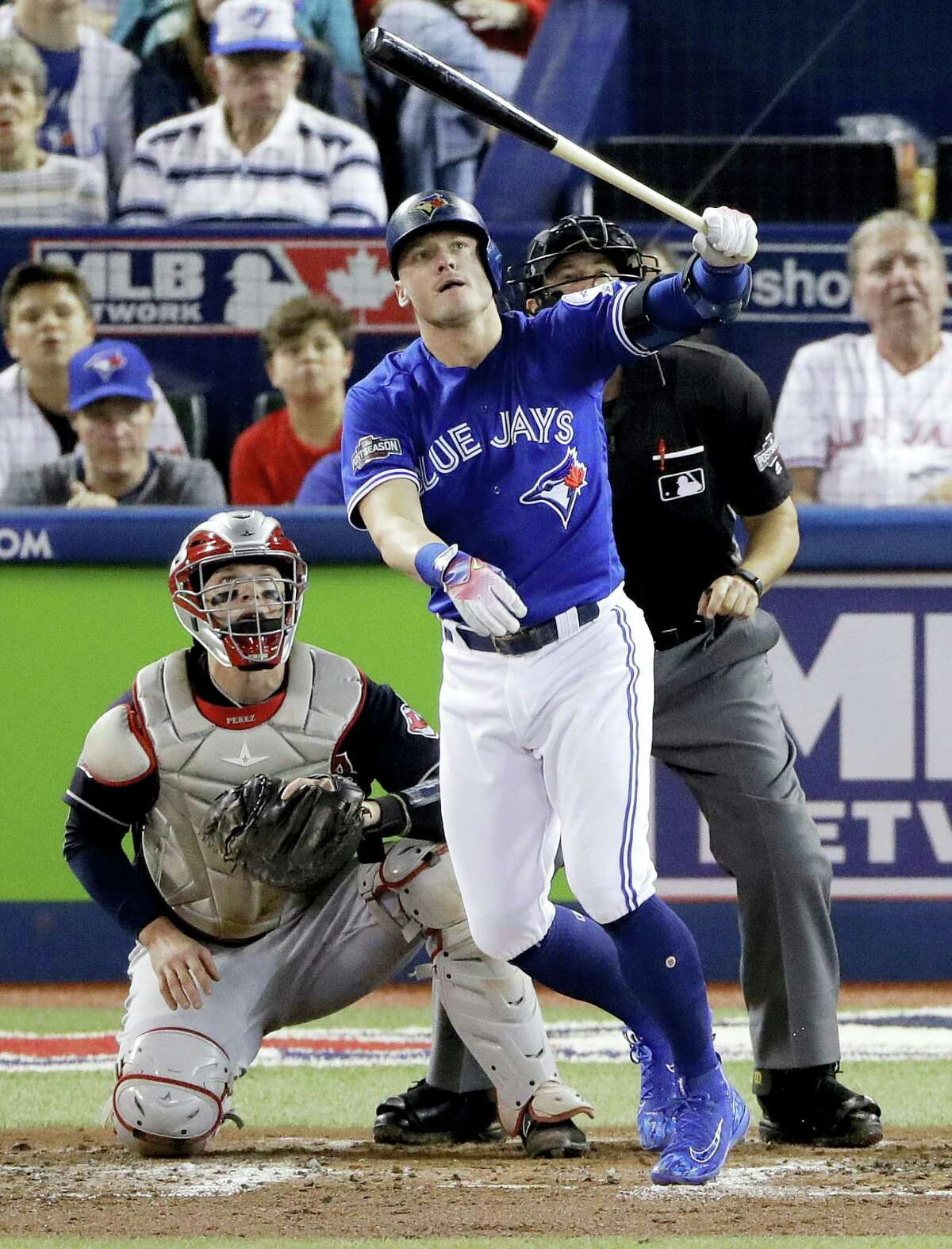 The Blue Jays' Josh Donaldson watches his home run off Indians starting pitcher Corey Kluber during the third inning Tuesday.