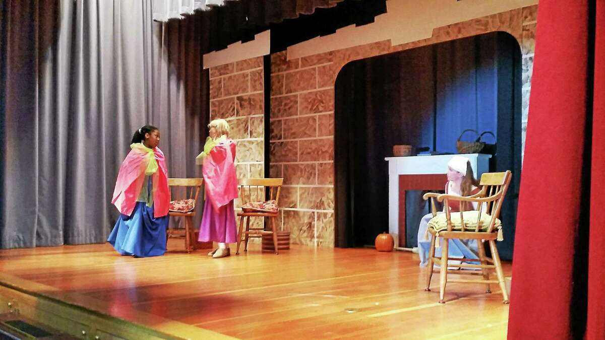 """Students at St. Peter/St. Francis School during at a dress rehearsal for this year's play, """"Cinderella."""""""