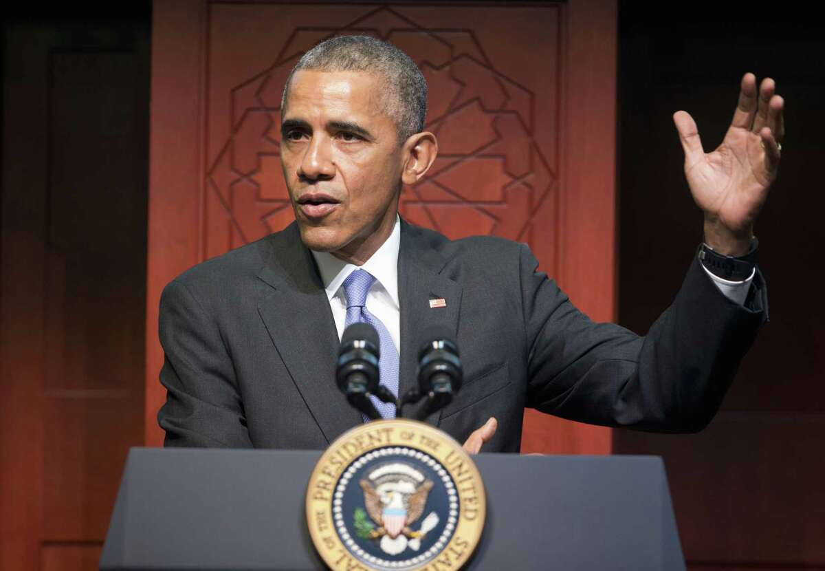 President Barack Obama speaks to members of the Muslim-American community at the Islamic Society of Baltimore, Wednesday, Feb. 3, 2016, in Baltimore, Md. Obama is making his first visit to a U.S. mosque at a time Muslim-Americans say they're confronting increasing levels of bias in speech and deeds.