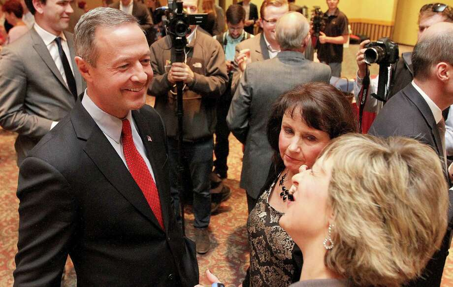 Former Maryland Gov. Martin O'Malley talks with Scott County Democrats on March 20, 2015, before the start of the Scott County Democratic Party's Red, White and Blue Dinner held at the Clarion Hotel in Davenport, Iowa. Photo: AP Photo/The Quad City Times, John Schultz  / The Quad City Times