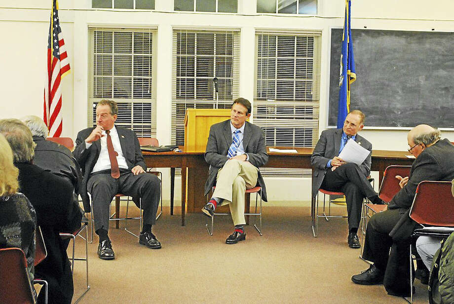 From left, state Rep. John Piscopo, state Sen. Kevin Witkos and state Sen. Kevin Martin in Harwinton. Photo: Contributed Photo