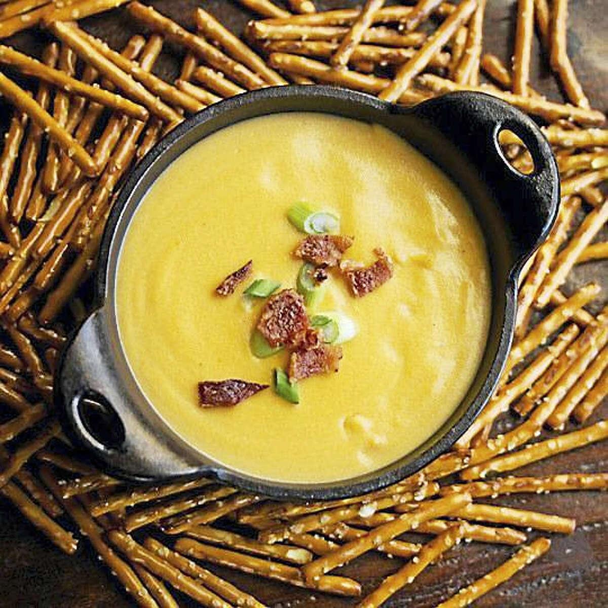 Serve pretzels, pretzel bread or crudites alongside the warm beer and cheddar dip.
