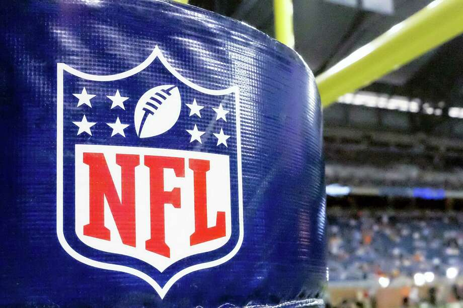 An NFL logo on a goal post padding before a preseason NFL football game between the Detroit Lions and the Cleveland Browns at Ford Field in Detroit. Photo: AP Photo/Rick Osentoski, File  / AP