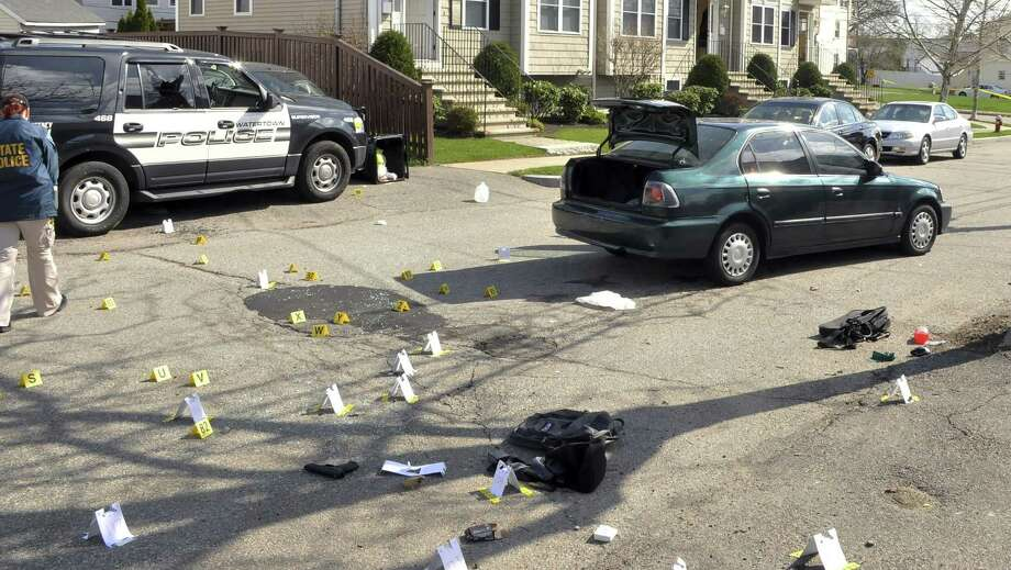 This undated forensics photograph made by the FBI, released Tuesday, March 24, 2015, by the U.S. Attorney's office and presented as evidence during the federal death penalty trial of Dzhokhar Tsarnaev in Boston, shows the scene of the April 19, 2013, gun battle in Watertown, Mass., between police and Dzhokhar and Tamerlan Tsarnaev. Dzhokhar Tsarnaev is charged with conspiring with his brother to place two bombs near the Boston Marathon finish line that killed three and injured more than 260 spectators in April 2013. Tamerlan died after he was wounded during the gun battle and run over by Dzhokhar as he escaped. (AP Photo/U.S. Attorney's Office) Photo: AP / U.S. Attorney's Office