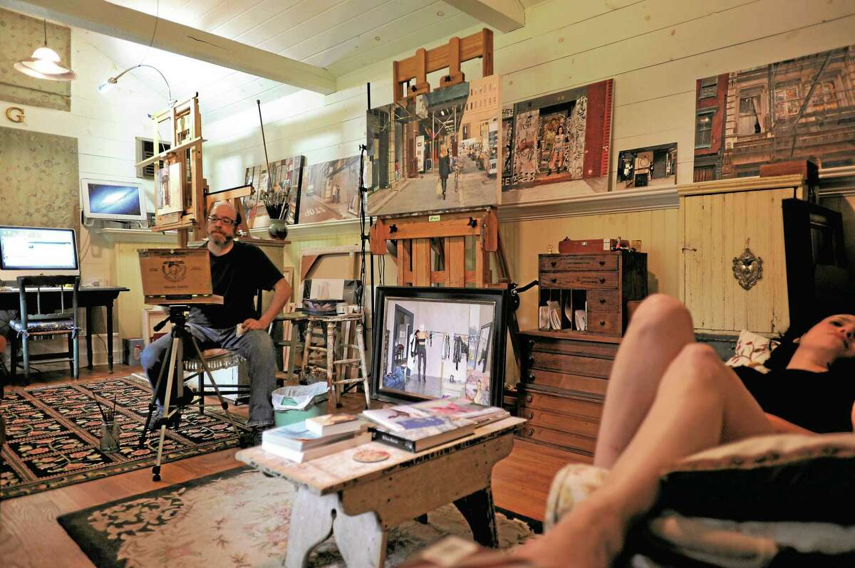 Vincent Giarrano works with model Linda at his studio.