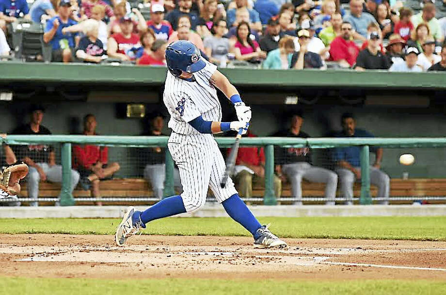 Wallingford's P.J. Higgins is hitting .279 while making transition to catcher with Class-A South Bend Cubs. Photo: Photo Courtesy Of South Bend Cubs