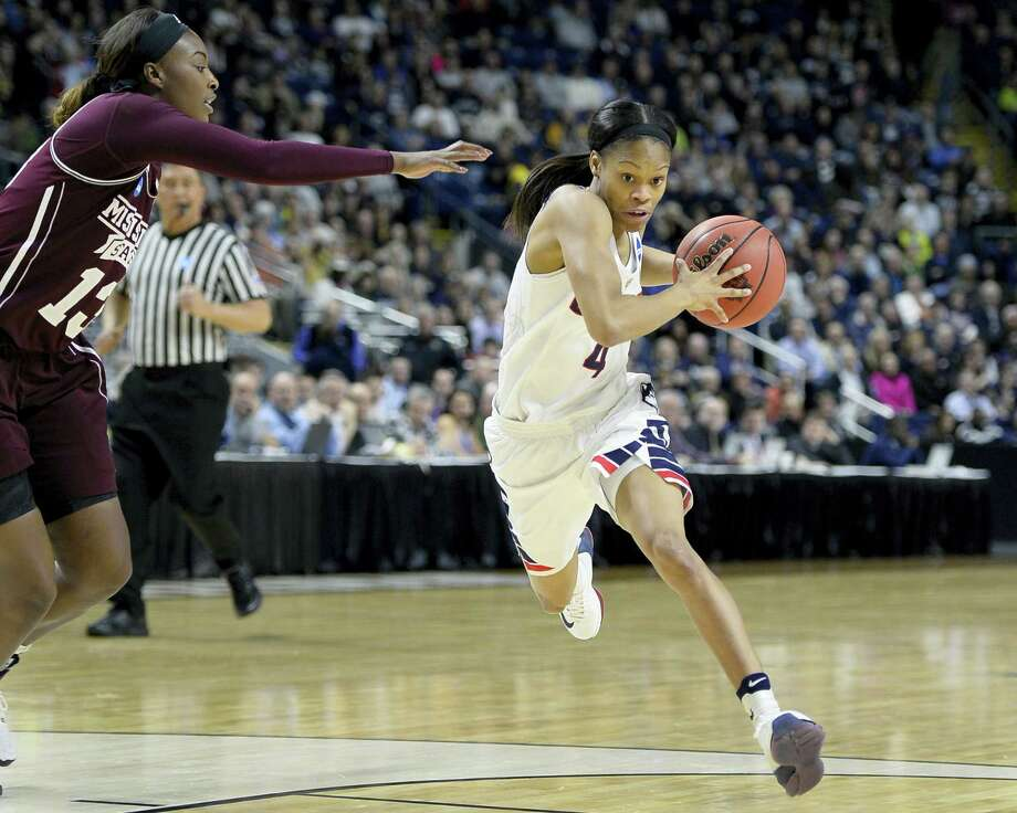 UConn's Moriah Jefferson, right, drives past Mississippi State's Ketara Chapel during the regional semifinal Saturday. Jefferson has drawn high praise from some of the top names in the game. Photo: Jessica Hill — The Associated Press  / AP2016