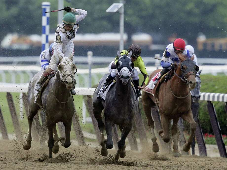 Creator, left, with jockey Luis Saez up, won Belmont Stakes on Saturday. Photo: Peter Morgan — The Associated Press  / AP