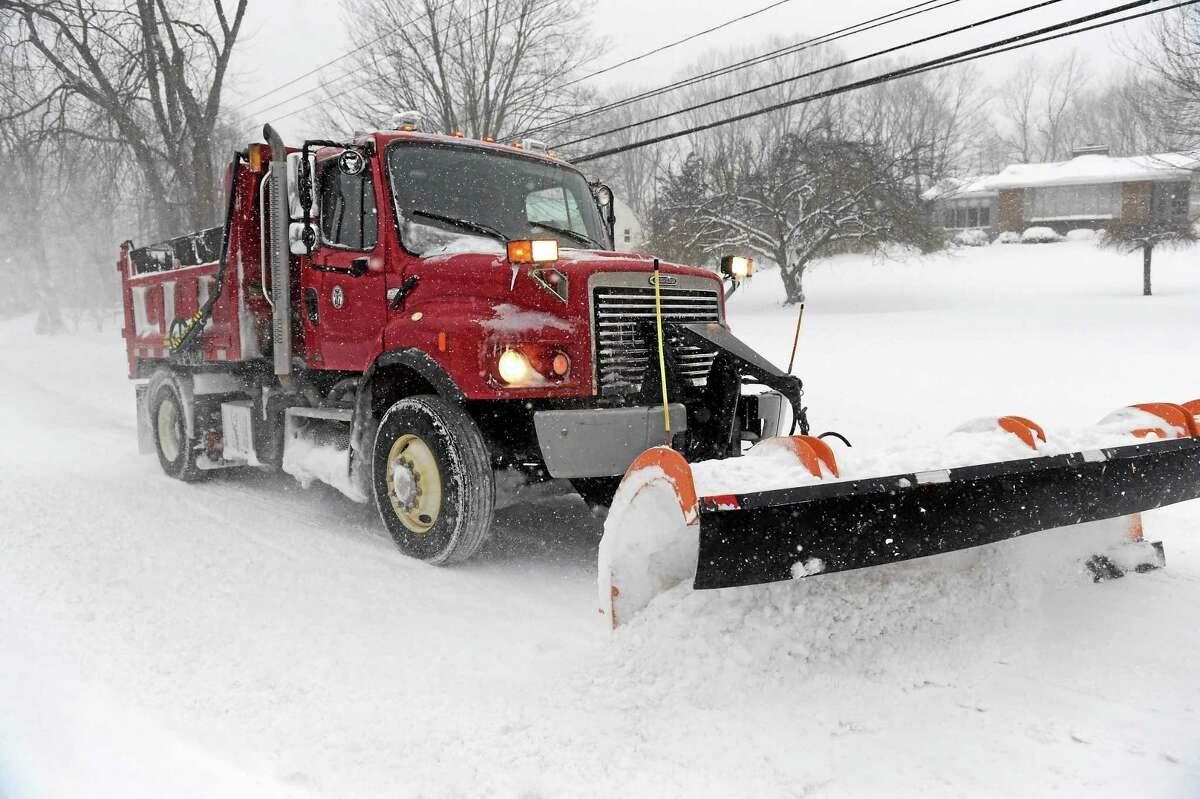 Town of Branford snow plow truck on Pine Orchard Road in Branford.