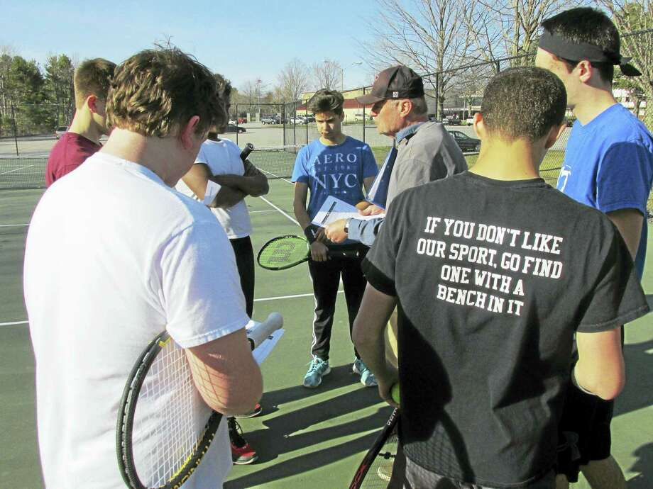 Torrington Coach Mark Moulton expects his Red Raiders to be the only team in the NVL to give defending boys tennis champion Wolcott a good test this year. Photo: Photo By Peter Wallace
