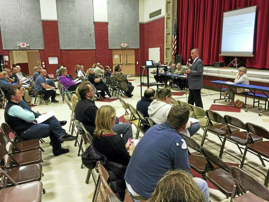 Winchester residents received and discussed budget proposals for both the town public schools and The Gilbert School Thursday evening. Photo: BEN LAMBERT — REGISTER CITIZEN