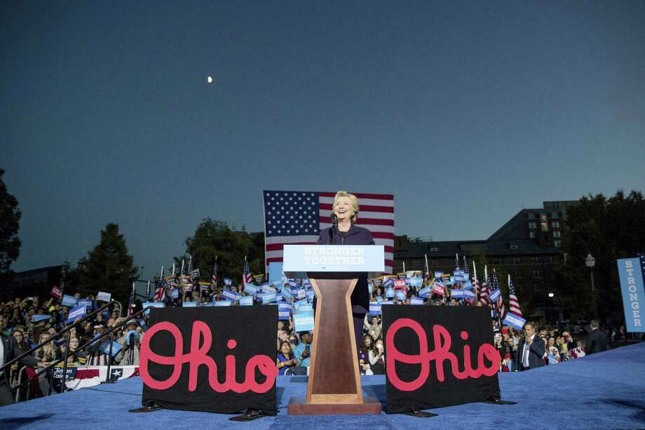 In this Oct. 10, 2016 photo, Democratic presidential candidate Hillary Clinton smiles while speaking at a rally at The Ohio State University in Columbus, Ohio. The state's role this year shapes up to be potential spoiler for Donald Trump's chances of reaching 270 electoral votes. While Clinton appears to have paths to the total needed for election without Ohio, the state's 20 votes are considered crucial for Trump. Photo: AP Photo/Andrew Harnik  / Copyright 2016 The Associated Press. All rights reserved.