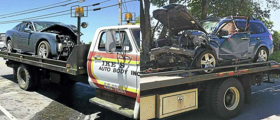Part of Route 4 in Goshen was shut down near the Torrington line early Friday after a two-car crash. Three helicopters were requested to the scene to help treat patients. Photo: (Ben Lambert/The Register Citizen)