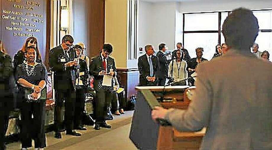 State Sen. Beth Bye talks to anti-poverty advocates. Photo: Christine Stuart—CT News Junkie