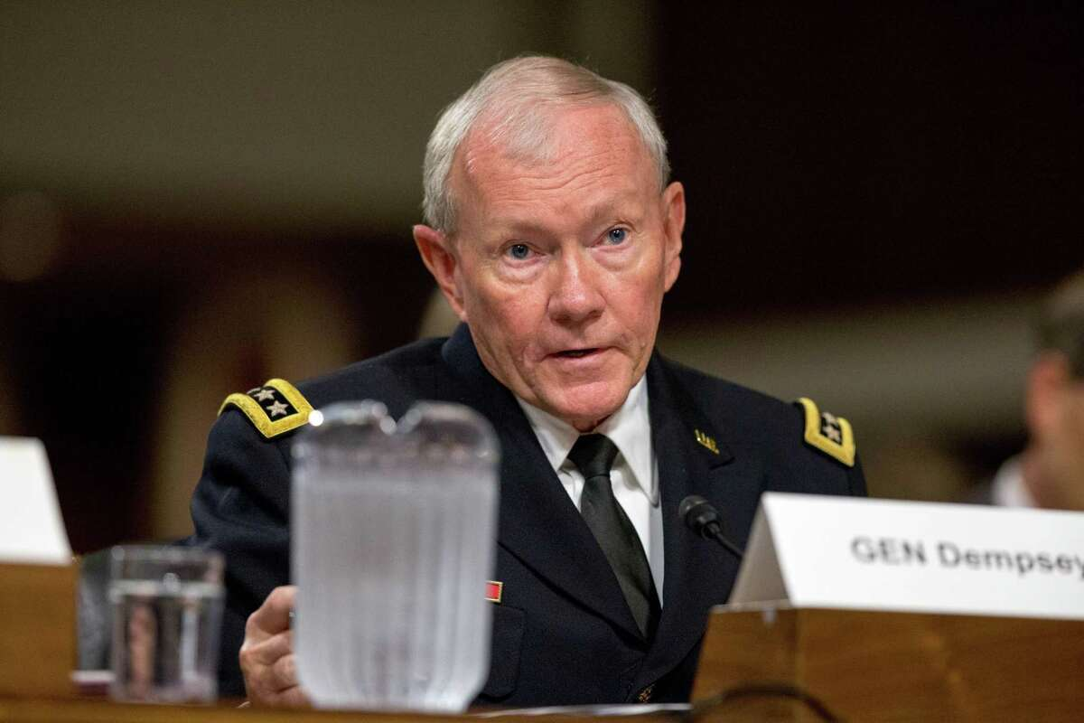 Joint Chiefs Chairman Gen. Martin Dempsey testifies on Capitol Hill in Washington Wednesday before the Senate Armed Services Committee hearing on the impacts of the Joint Comprehensive Plan of Action (JCPOA) on U.S. Interests and the Military Balance in the Middle East.